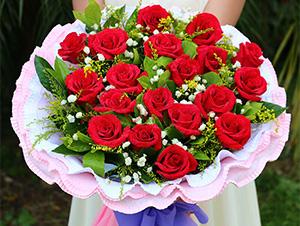 七夕情人节红玫瑰花鲜花花篮鲜花速递送花花篮生日礼物